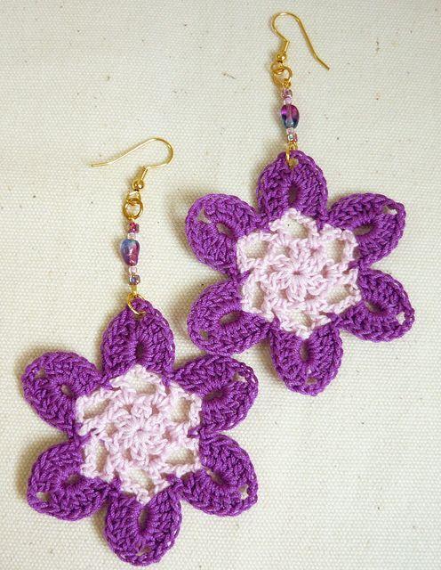 purple2.1Pretty Bloom Crochet Earrings in Purple by cinnamonyarn, via Flickr