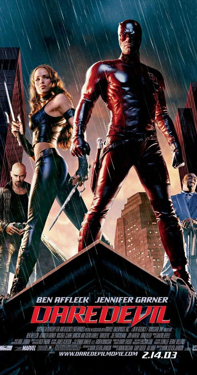 Directed by Mark Steven Johnson.  With Ben Affleck, Jennifer Garner, Colin Farrell, Michael Clarke Duncan. A man blinded by toxic waste which also enhanced his remaining senses fights crime as an acrobatic martial arts superhero.