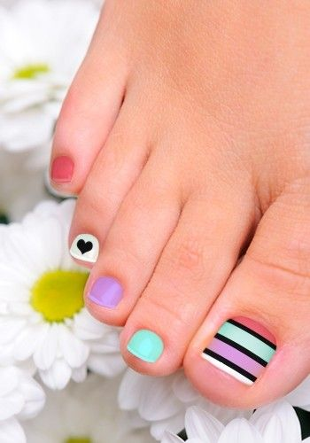 Colorful Toenail Art Design