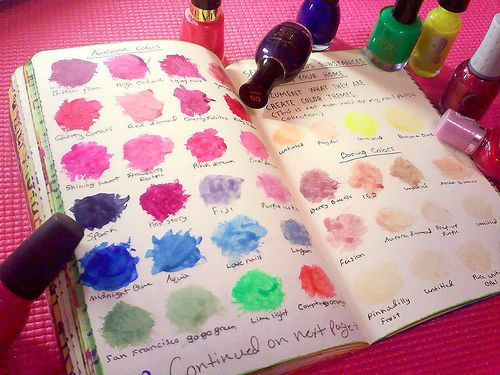 All of your nail polishes laid out in a book so you know what the color looks like! I need to make this... so many colors and I don't know what they look like! :D
