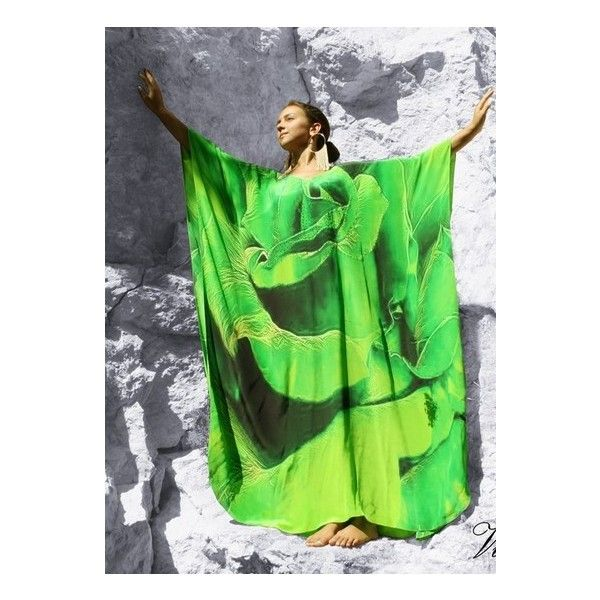 Emerald silk Kaftan spiral of rose petals. Paris in Love ❤ liked on Polyvore featuring tops, emerald green tops, silk top, green silk top, petal tops and emerald top