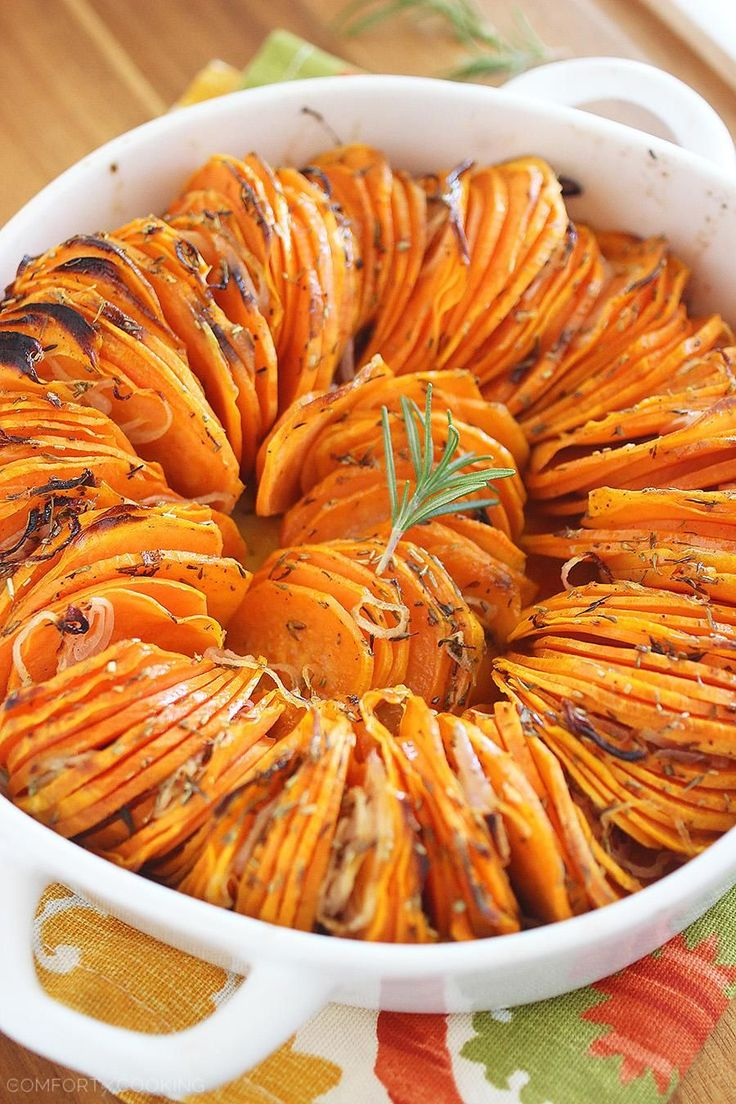 Crispy Roasted Rosemary Sweet Potatoes by thecomfortofcooking: Crispy, healthy and delicious side that's a cinch to make! Shallots make the potatoes extra aromatic and full of flavor. #Sweet_Potatoes #Shallots #Healthy