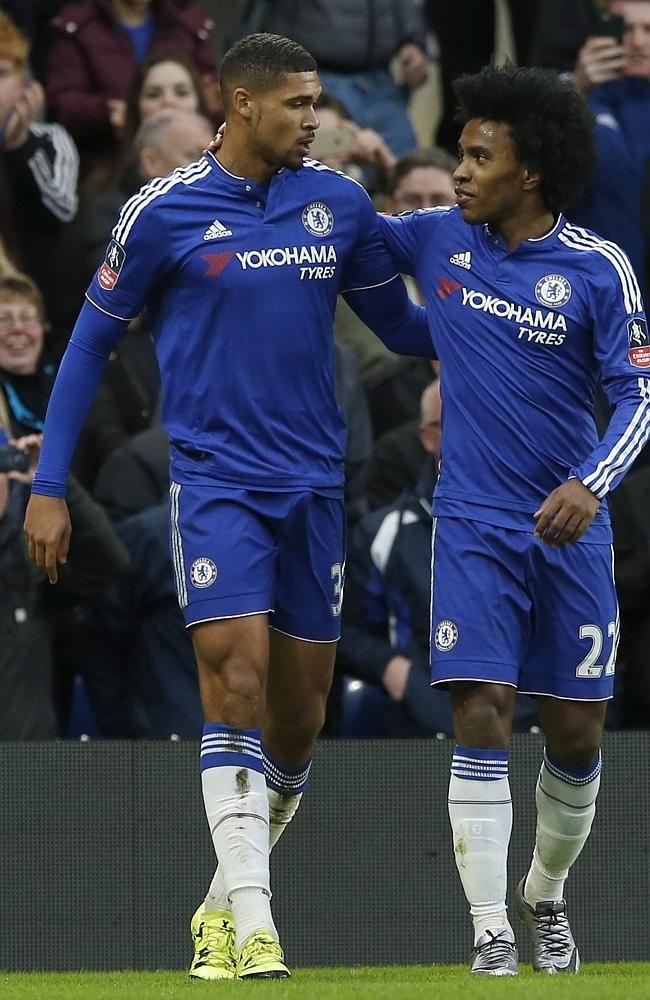 Chelsea's Ruben Loftus-Cheek, left, celebrates with teammate Chelsea's Willian.