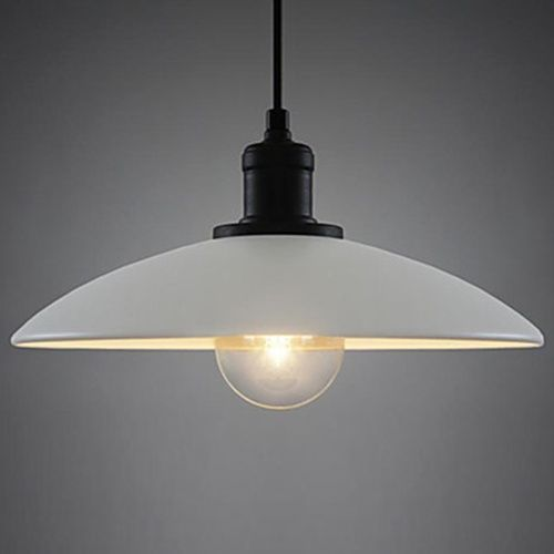 60W Contemporary Chic Pendant Light With Minimalist White Metal Shade LightSuperDeal