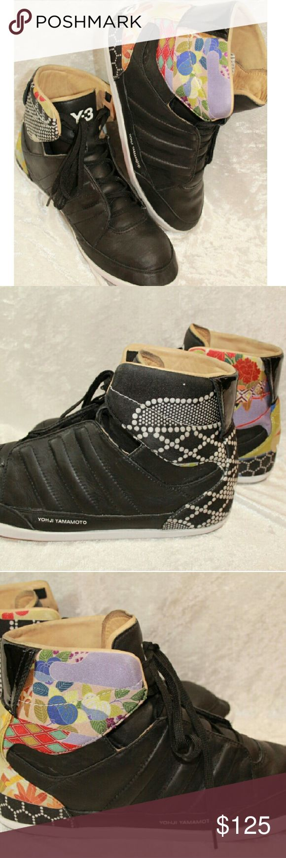 Adidas Y3 Yohji Yamamoto Leather Floral High Top 8 Rare! Y3 Yohji Yamamoto Leather upper and inner high tops.  These are in excellent condition, there are no marks or flaws and only slight wear on the soles. Yohji Yamamoto Shoes Athletic Shoes