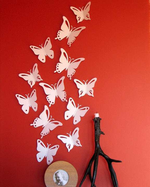 Wall Decor In Red : Best ideas about white butterfly on