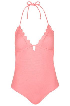 PETITE Pink Scallop Swimsuit