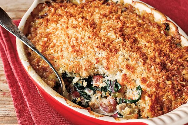 Oyster–Swiss Chard Gratin with Country Bacon recipe
