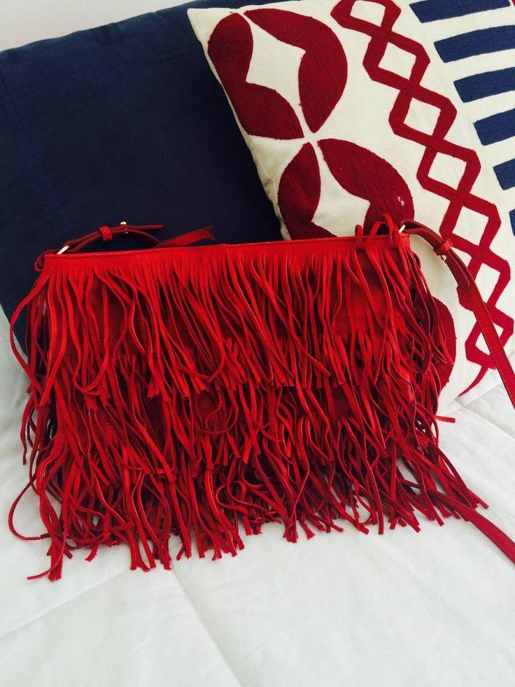 bolsa franjas vermelha - ombro zara