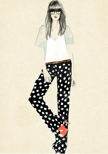 Fashion illustrationPolka Dots, Graphics Prints, Fashion Sketches, Fashion Drawing, Sandra Suy, Black White, Fashionillustration, Fashion Illustrations, Sandrasuy