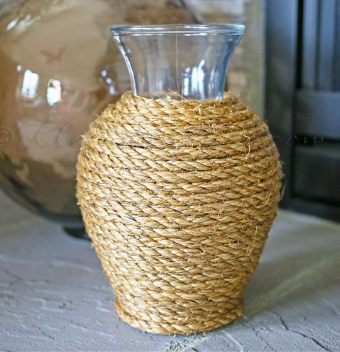 Easy Rope Vase | Click Pic for 20 DIY Beach Decorating Ideas for Living Room  | DIY Coastal Decorating Ideas for the Home | Nautical Decor Ideas