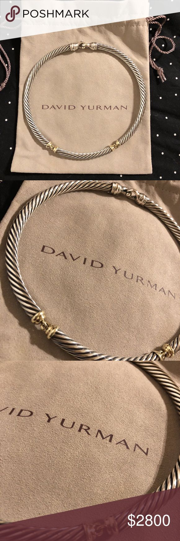 "DAVID YURMAN Sterling Silver & 14K Gold Necklace This will never be marked any lower.   If you know David Yurman, you know you are getting a great deal   Serious Buyers Only  This is for the spoiled lady that loves to dress for success!   Solid Sterling Silver Cable with 14K Gold Connecting Hinge Accents.  It is stamped, 925, and 585 for on the back clasp.  Lobster Clasp in back. Choker weighs about 101 grams Thickness of the Link: 7mm  Length approximately 16""   Width when closed: 5 inches…"