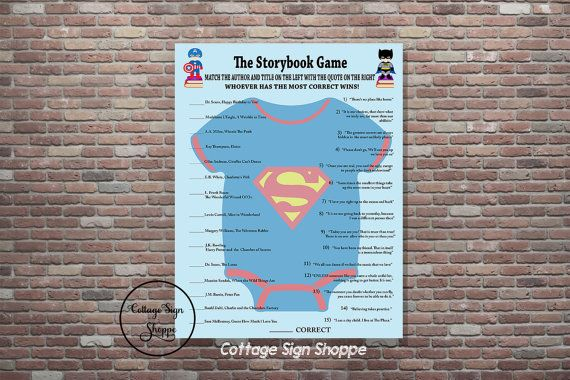 Baby Shower Games Superhero Baby Shower Game by CottageArtShoppe