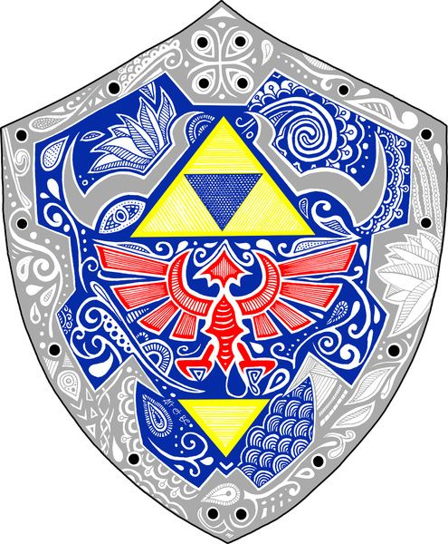 Zelda's shield Doodle - Bouclier de Link Design © Sabrina Beretta - Art et Be Galeries : http://society6.com/artetbe/  http://artetbe.spreadshirt.fr/