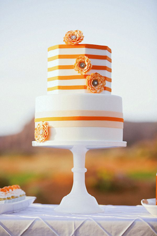 Orange stripes ~ Gideon Photography // Cake: Sweet Cakes by Karen