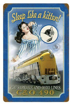 """Sleep Like a Kitten!"" Railroad Poster"