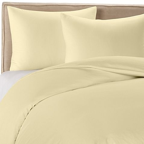 butter yellow duvet cover- bed bath beyond Wamsutta® 400-Thread-Count Solid Twin Duvet Cover Set in Butter Yellow