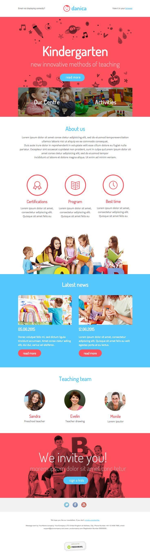 Kindergarten newsletter template for kids and parents. Responsive Design #emailmarketing #free