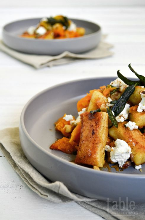 Pan-fried Gnocchi with Roast Pumpkin, Goat's Cheese & Candied Walnuts