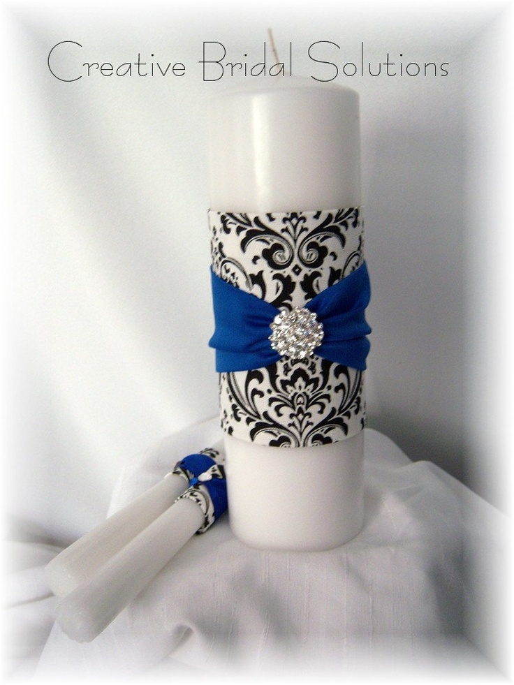 Black and White Madison Damask with Royal Blue by CreativeBridal, $55.00