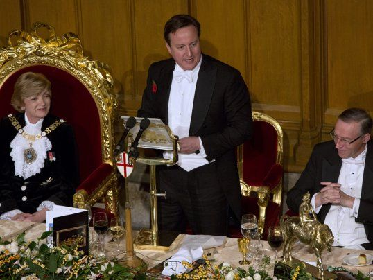 """""""David Cameron Calling For Permanent Austerity Surrounded by, All Kinds Of Ridiculous Gold Things"""" -  award for most out of touch politician of the year!"""