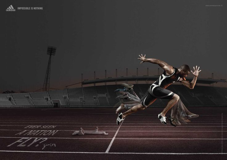 Adidas print advertisement with USA sprinter Tyson Gay