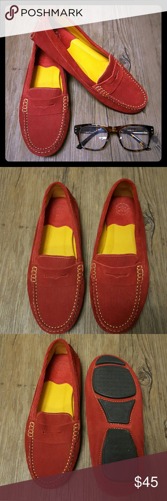 Johnston & Murphy Cord Driver Johnston & Murphy Cord Driver *red corduroy upper *sheepskin lining for excellent feel and wear *footbed is cushioned with memory foam *flexible rubber outsole for added traction *like new, excellent condition Johnston & Murphy Shoes Flats & Loafers