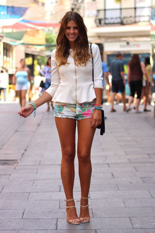 peplum long-sleeved top + printed shorts. street style. ♥