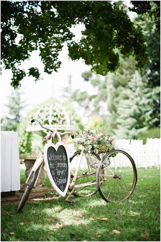 Wedding bicycle wedding sign