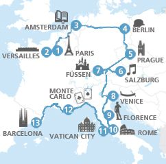 European highlights Itinerary - Eurail  Train to Paris and Elipsos Trenhotel back out of Barcelona