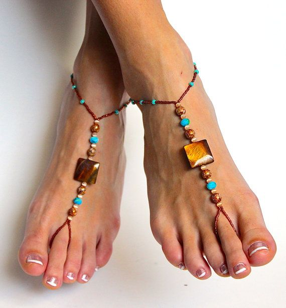 Stunning Boho Chic Beaded Barefoot Sandals Foot by BareSandals, $22.00