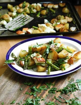 Asparuagus, new potatoes, halloumi from Hugh Fearnley-Whittingstall's Three Good Things