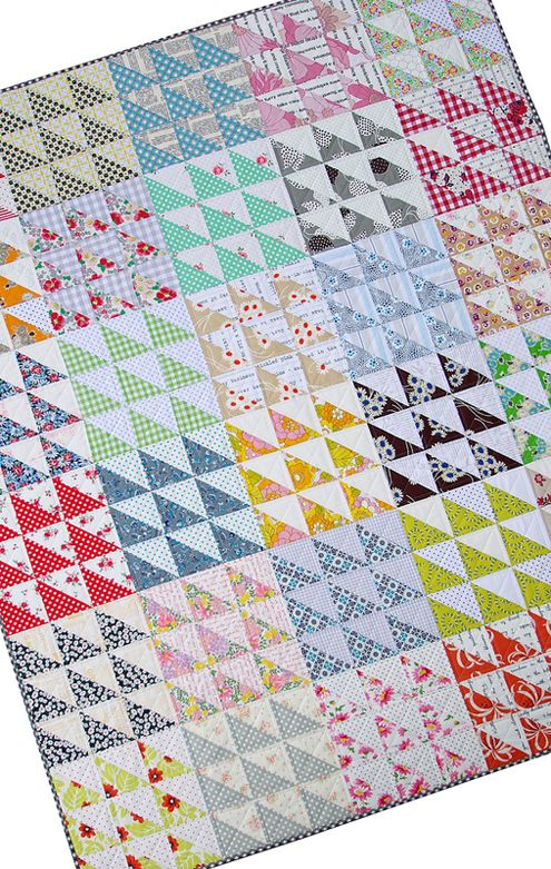 Retro Half Square Triangle (HST) Quilt and New Quilt Pattern by Rita at Red Pepper Quilts.