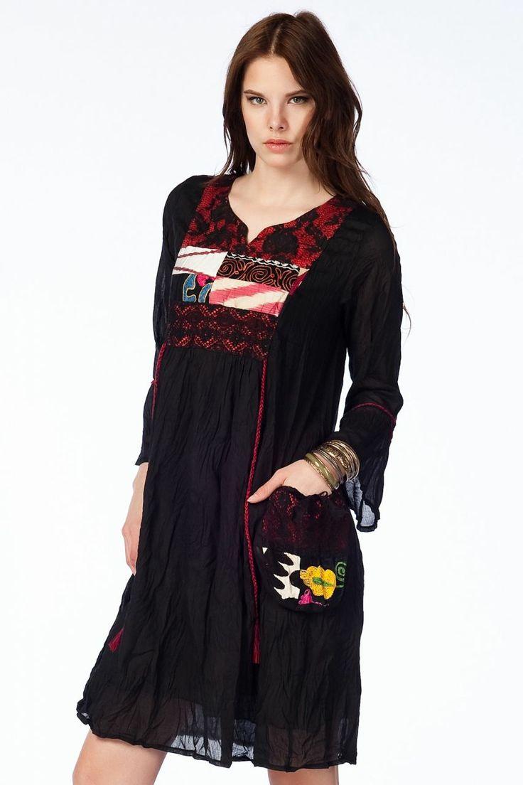 Otantik Köyceğiz Elbise - Siyah