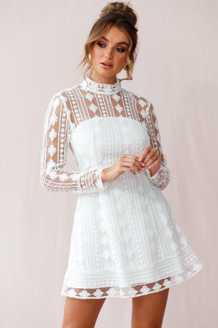Amelia Lace Overlay Peek A Boo Dress White White Lace Long Sleeve Dress Dresses Peek A Boo Dress [ 1100 x 733 Pixel ]