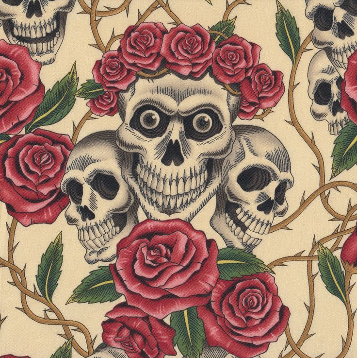 Skulls and Roses on Cream Quilt Fabric - Find a Fabric - Available to purchase in Fat Quarters, Half Metre, 3/4 Metre, 1 Metre and so on.