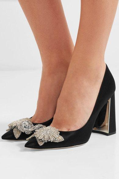 Sophia Webster | Lilico crystal-embellished satin pumps | NET-A-PORTER.COM