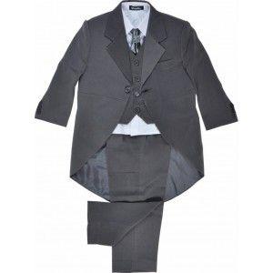 Boys 5 Piece Grey Tail Coat Suit - Fashion Kid