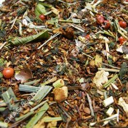 Trópico » Rooibos Bio, yerba mate, citronella, manzana, naranja, pimienta rosa, cardamomo, marialuisa y pétalos de rosa.