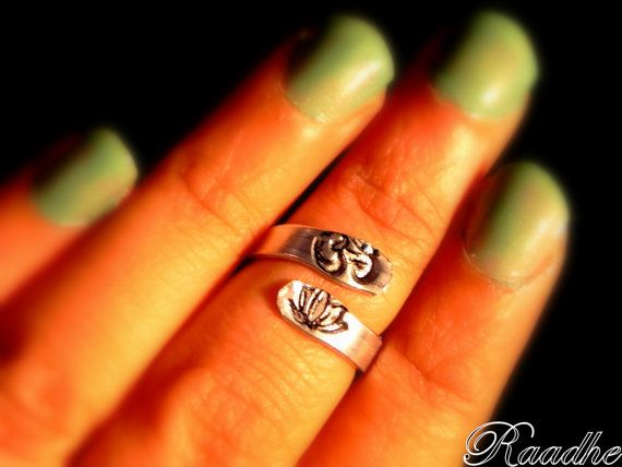 Yoga Ring, Adjustable knuckle Ring with hand stamped OM / AUM and Lotus symbol by Raadhe Handmade Jewelry