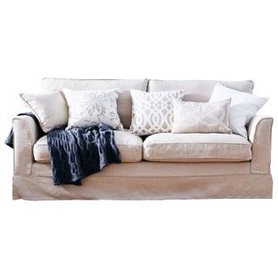 French Taupe South Hampton 3 Seat Slipcover Sofa