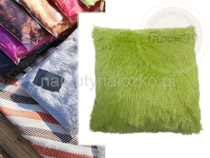 Zielona poszewka włochata na poduszkę
