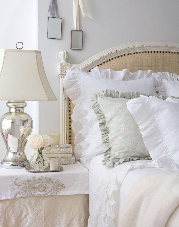Dreamy White and Cream bed, linen and matelasse, mercury glass lamp...