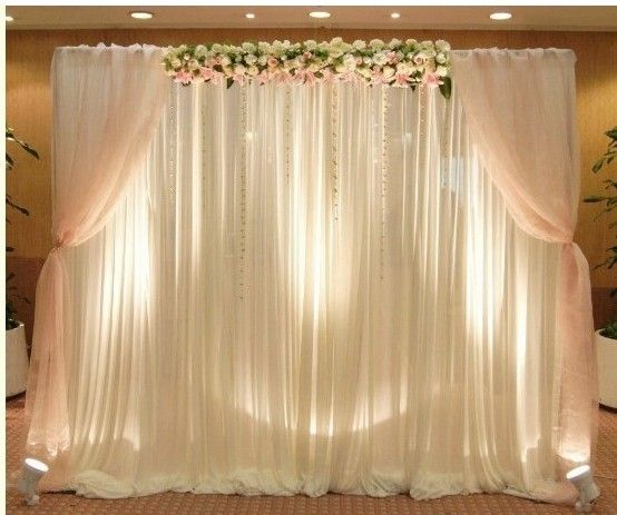 Event wedding stand pipe and drape backdrop for wedding for Background curtain decoration