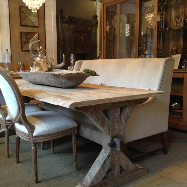 Reclaimed Trestle Table Has Hewed Barnwood Beam Base And Solid White Oak Live Edge