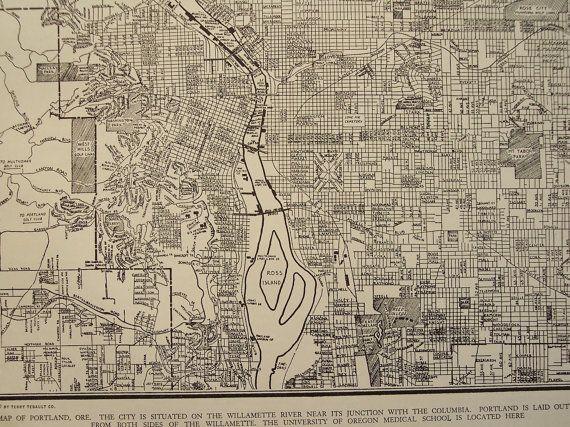 original vintage map of portland