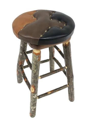 Amazing Leather Patchwork Stool With Hickory Wood From Roughing It In Style  Madison Wi Fort Collins Room With Furniture Stores Fort Collins Co