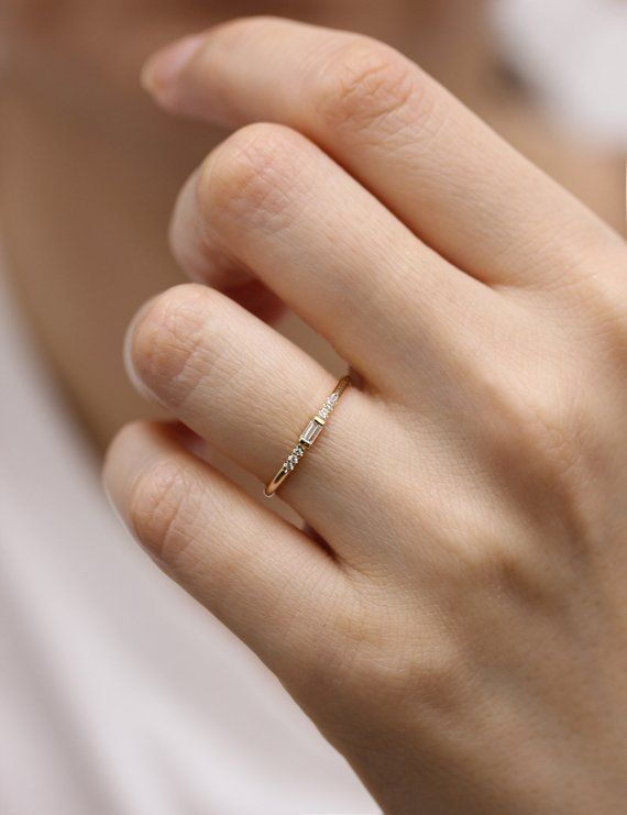 14k Gold Thin Engagement Ring With Baguette Diamond Simple White