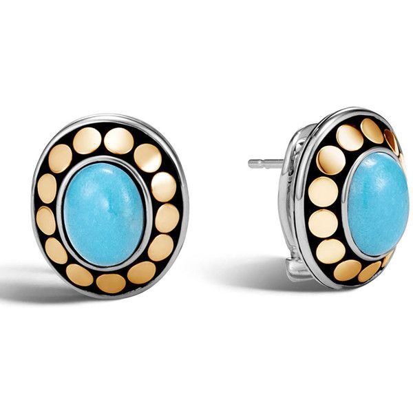 John Hardy Dot Turquoise Cabochon Stud Earrings ($695) ❤ liked on Polyvore featuring jewelry, earrings, turquoise, john hardy earrings, polka dot earrings, john hardy jewelry, cabochon jewelry and cabochon earrings
