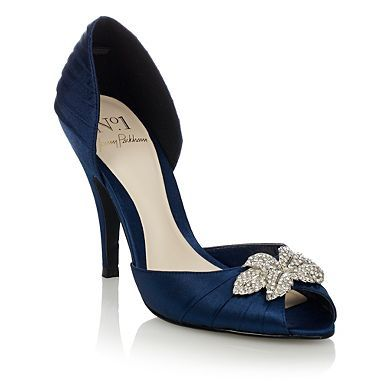 £52.00   Navy pleated satin high heeled court shoes  Item No. 0500107635  Overall   5 out of 5  5 reviews  Styled in pleated satin, these navy court shoes from No1 by Jenny Packham have tapered high heels and peep toes, which are finished with diamant -encrusted double leaf charms